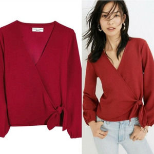 Madewell Texture & Thread Crepe Wrap Red Top Small